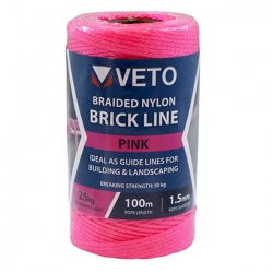 Veto Nylon Brick Line - Tube - Pink 1.5mm x 100m