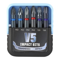Timco Mixed V5 Impact Driver Bit Set 6pc
